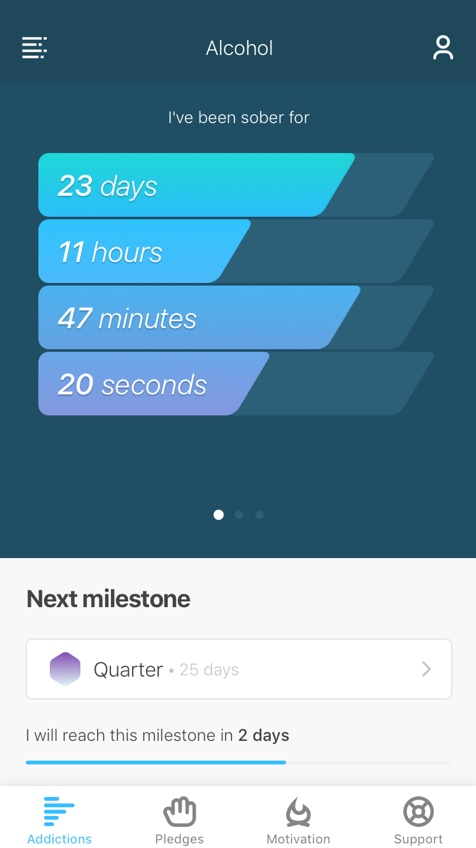 Sobriety tracker showing how long you've been sober from your addiction